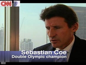 Sebastian Coe won 1500 meter gold at the 1980 and 1984 Olympic Games. He is currently chairman of the London 2012 organizing committee.