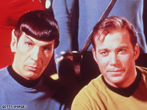 Leonard Nimoy and William Shatner as Spock and Captain Kirk in Star Trek