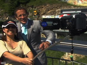 CNN's Richard Quest puts the Xshot through its paces with the help of a tourist in Basel.