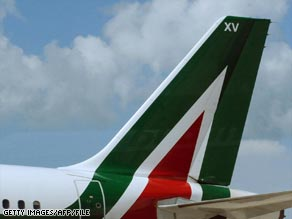 An Alitalia plane waits on the tarmac in Rome.