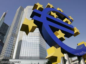 A giant euro symbol, the currency of the EU, stands in front of  the European Central Bank.