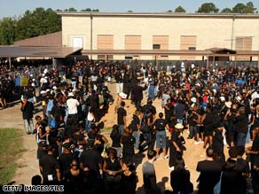 Protesters gather at Jena High School during a civil rights march on September 20, 2007, in Jena, Louisiana.