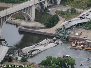The I-35W bridge lies in ruins in August 2007 in Minneapolis, Minnesota.