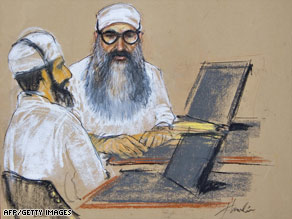 A sketch shows Walid bin Attash, left, and Khalid Sheikh Mohammed in court at Guantanamo Bay in June.