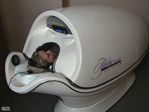 The alpha pod, designed for napping, includes   a heated, vibrating bed and a CD player.