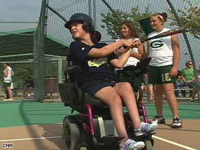 Morgan Lawless, who has cerebral palsy, plays baseball at Bay Creek Park near Atlanta, Georgia.