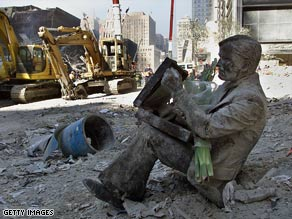 After September 11, most of lower Manhattan was covered in thick dust from the collapsed towers.