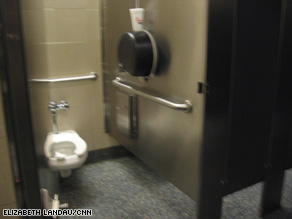 Public bathrooms may be teeming with bacteria, but the toilet seat is probably safe for sitting.