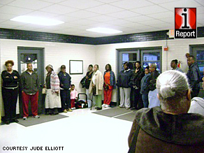 Voters waiting in line may feel validated, a psychologist says. Here, people queue up Tuesday in New York.