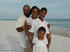 Gigi Pasley, 11, with her parents, Irvin and Jessica, and brother, Myles, has survived leukemia and bone cancer.