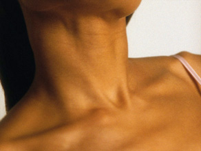 The thyroid is a butterfly-shaped gland at the base of the neck.