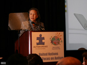 Ban Soon-taek, wife of U.N. Secretary General Ban Ki-Moon, addresses the autism forum.