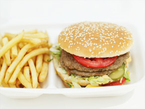 A fast-food hamburger contains about 750 to 800 milligrams of sodium  -- half of a young child's daily limit.