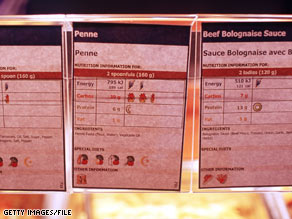 Nutritional labels like these seen at the Olympics can help students break down what they are eating.