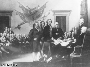 In August 1776, 13 states signed the Declaration of Independence, as depicted in this illustration.