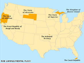 This map shows some rebellious regions that have tried to seceed from the United States.