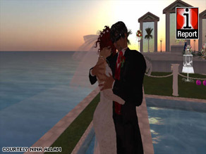 Nina Allam and Sean Barbary were married in the virtual world of Second Life before meeting for the first time.