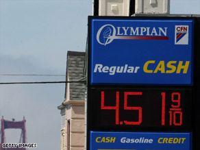 Gas stations like this one in San Francisco, California, are required to clearly show cash and credit prices.