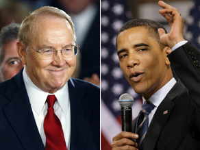 "James Dobson says Sen. Obama is distorting biblical teachings to fit ""his own confused theology."""