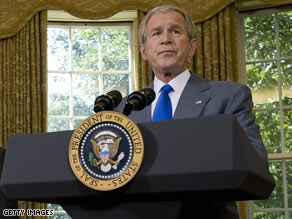 "President Bush on Monday said the men and women of the armed forces deserve ""our unflinching support."""