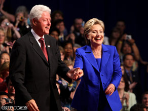 Hillary Clinton and Barack Obama appear together Friday at a rally in Unity, New Hampshire.