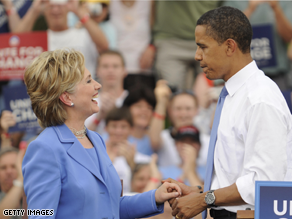 Sens. Hillary Clinton and Barack Obama appear at a unity rally in Unity, New Hampshire, in June.