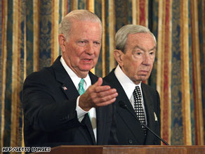 James Baker, left, and Warren Christopher led a panel that recommended a new War Powers Act.