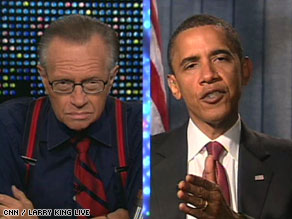 Sen. Barack Obama answers questions from Larry King in a taped interview on Tuesday.