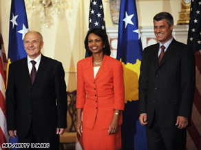 Condoleezza Rice meets with Kosovo President Fatmir Sejdiu, left, and Prime Minister Hashim Thaci.
