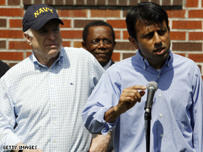 Louisiana Gov. Bobby Jindal, right, appears with Sen. McCain at an event in New Orleans in April.