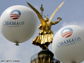 Balloons with Sen. Barack Obama's campaign logo appear Thursday in front of Berlin's Victory Column.