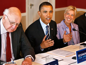 Sen. Barack Obama holds an economic roundtable in Washington on Monday.