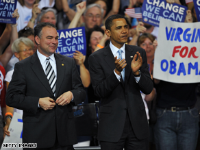 Gov. Tim Kaine hails from a state the Obama campaign hopes to snatch from Republicans this cycle.