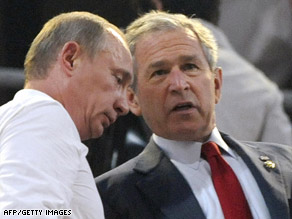 President Bush chats with Russian Prime Minister Vladmir Putin at the  start of the Olympic opening ceremonies.