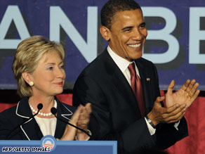 Former rivals Sens. Hillary Clinton and Barack Obama have called for unity at the Democratic convention.
