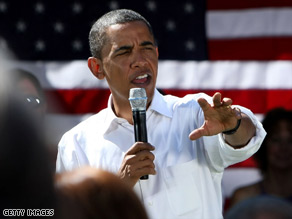 Sen. Barack Obama blasts Sen. John McCain's economic policies at a rally Wednesday in Martinsville, Virginia.