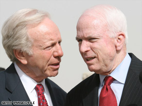 Sens. John McCain, right, and Joseph Liebeman traveled to Iraq and the Middle East together this spring.