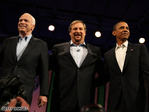 John McCain, the Rev. Rick Warren and Barack Obama together for a CNN broadcast forum on faith.