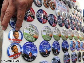 A vendor sells buttons Sunday for the Democratic National Convention in Denver, Colorado.
