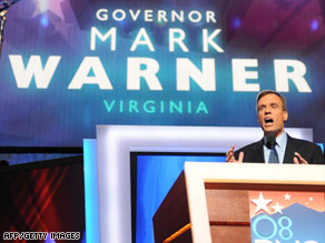 """This election ... is about the future vs. the past,"" former Virginia Gov. Mark Warner said Tuesday."