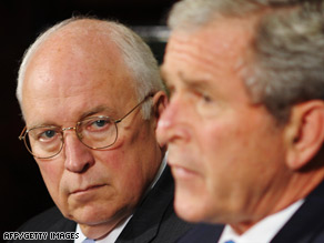 "Vice President Dick Cheney, in June with President Bush, says torture at Abu Ghraib was ""the misdeeds of a few."""