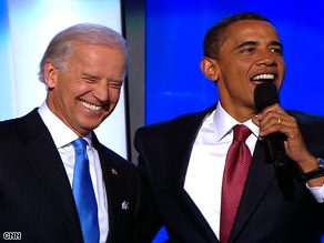 Sen. Joe Biden and Sen. Barack Obama make their first joint appearance at the Democratic convention.
