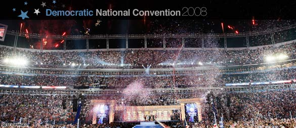 Celebration after Barack Obamas acceptance speech (CNN)