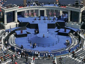 The stage is set for Barack Obama's acceptance speech at the Democrats' 2008 presidential nominee.