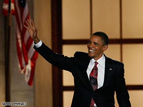 Barack Obama greets the crowd at the Democratic National Convention.