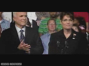Sarah Palin makes fewer appearances than Bush in the first Obama ad since her pick as John McCain's VP.