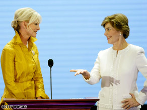 Cindy McCain, left, and Laura Bush address Republican delegates on Monday.