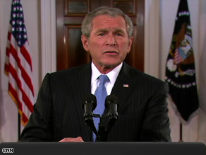 "President Bush says John McCain is ""ready to lead"" the United States."
