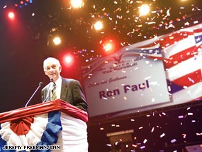 Attendees cheer Tuesday at Ron Paul's Rally for the Republic in Minneapolis, Minnesota.