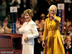 Laura Bush and Cindy McCain speak at a shortened first day of the Republican National Convention Monday.